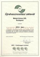 WRC Újrahasznosítási oklevél 2014